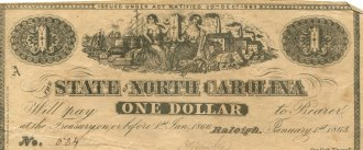 North Carolina One Dollar Treasury Note, 1863.