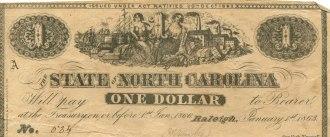 North Carolina One Dollar Treasury Note, 1863.