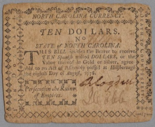 A $10 bill printed by Davis in 1778. Image from the N.C. Museum of History.